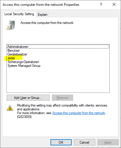 "Security Policy setting ""Access this computer from the network"" requires ""Everyone"""